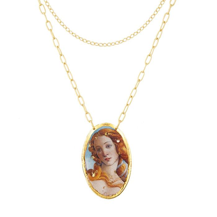 Botticelli Venus Large Oval Pendant - MU224-Evocateur-Renee Taylor Gallery
