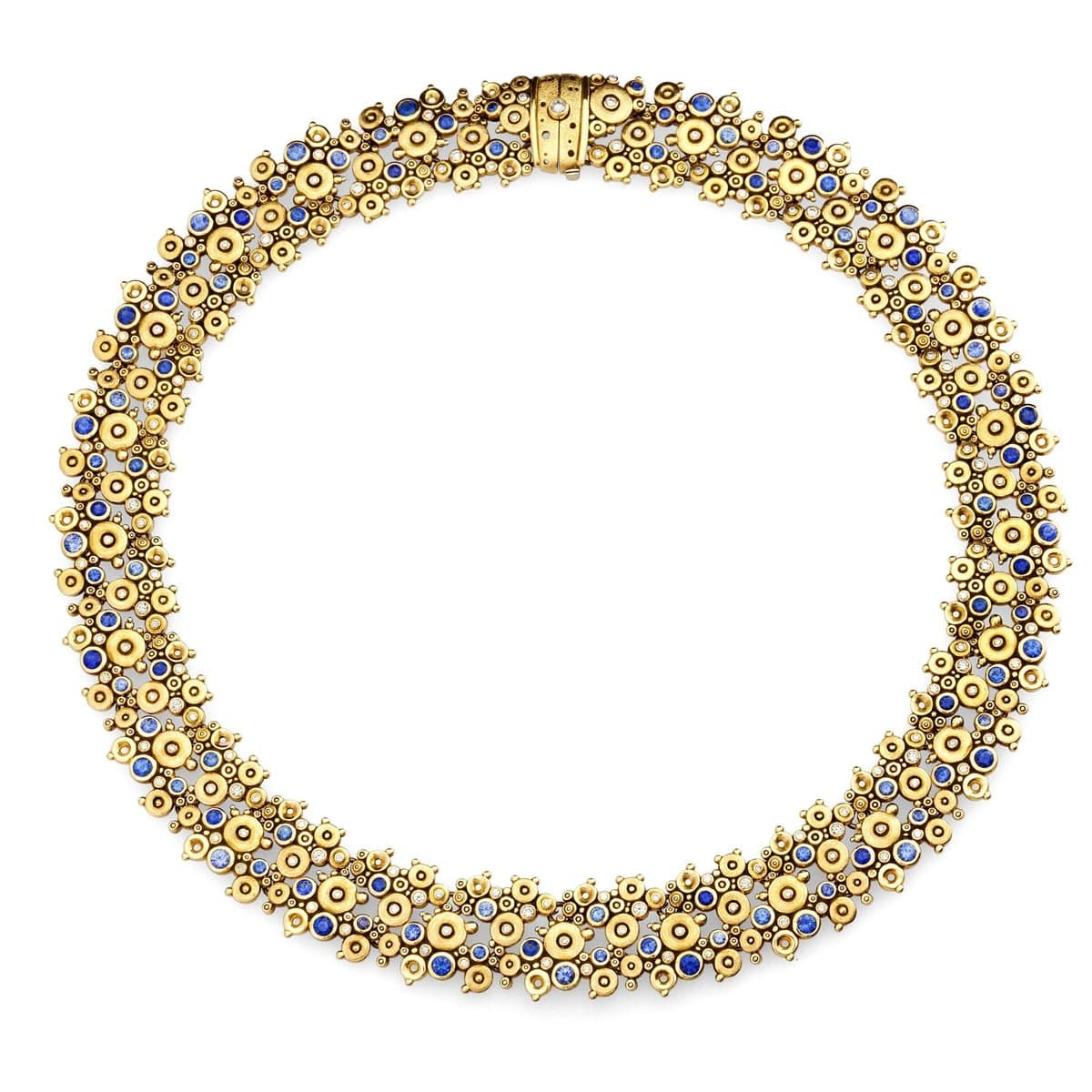 18K Lace Blue Mix Sapphire & Diamond Necklace - N-34S-Alex Sepkus-Renee Taylor Gallery