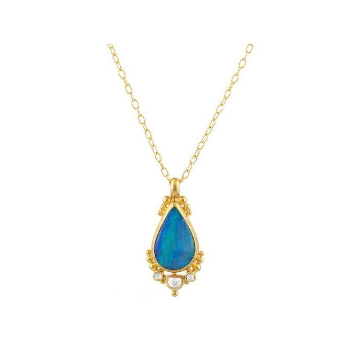 Amulet Hue 24K Gold Opal Necklace - N-U19040-OP