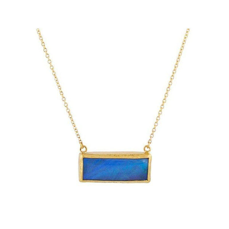 Opal Necklace Opals Horizontal Bar Necklace Gold Opal Charm Necklace