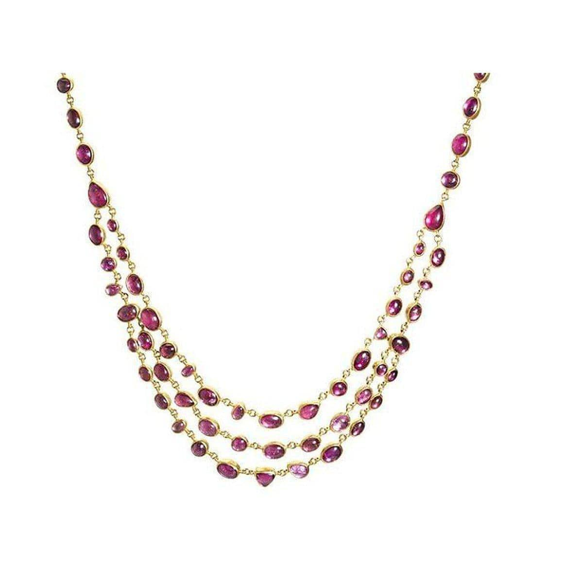 Amulet Hue 24K Gold Pink Tourmaline Necklace - N-U23644-PT