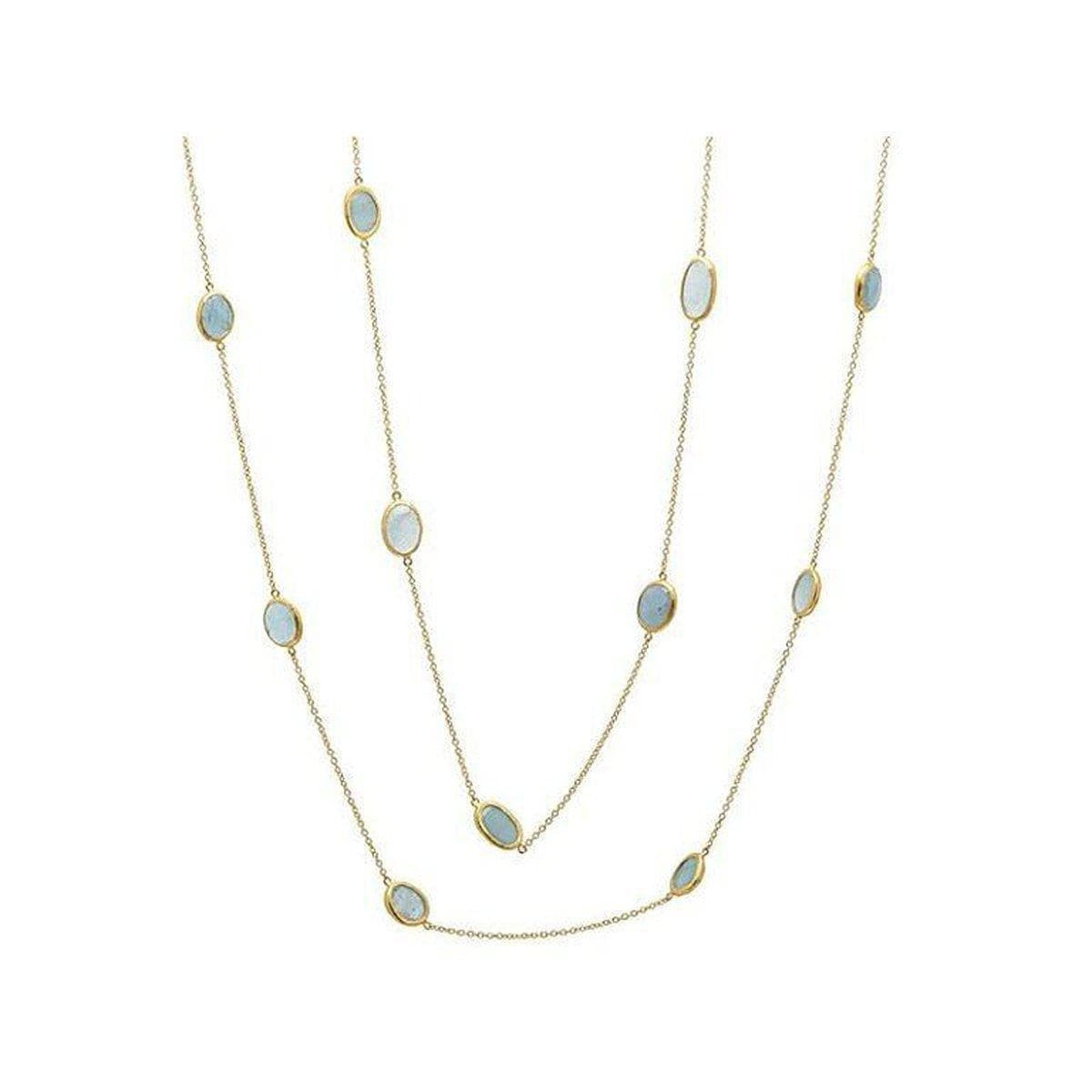 Elements 24K Gold Aquamarine Necklace - N-U23701-AQ