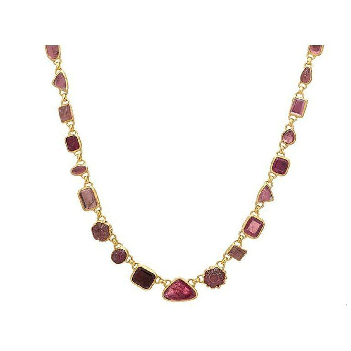 Elements 24K Gold Pink Tourmaline Necklace - N-U24254-PT