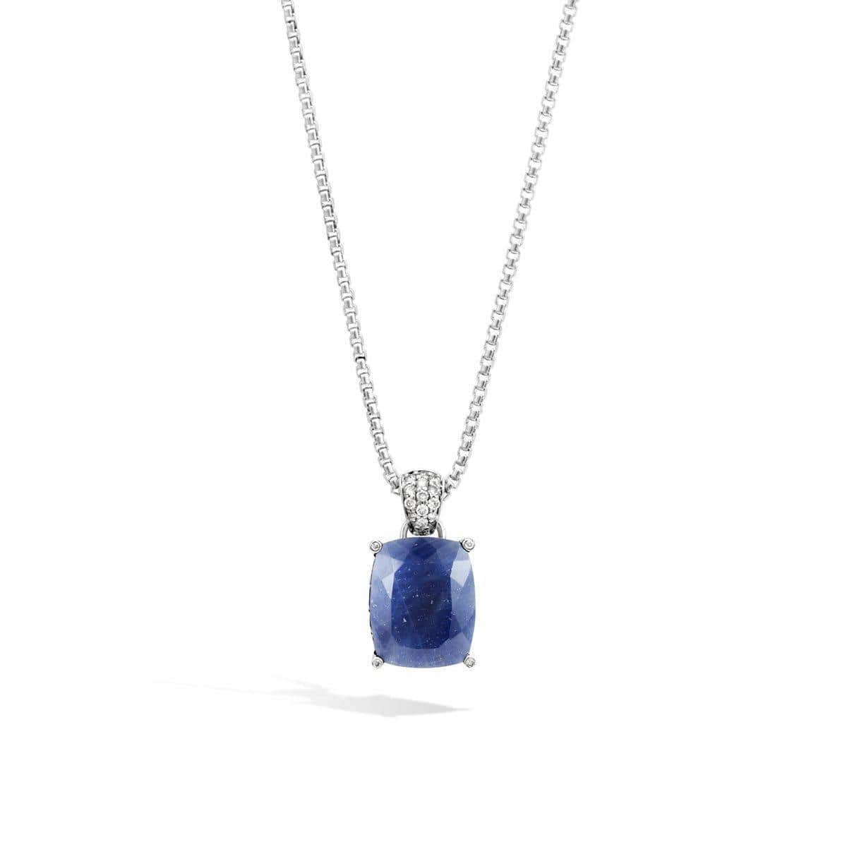 Classic Chain Magic Cut Pendant, Blue Sapphire and Diamonds - NBS971571BSPDI-John Hardy-Renee Taylor Gallery