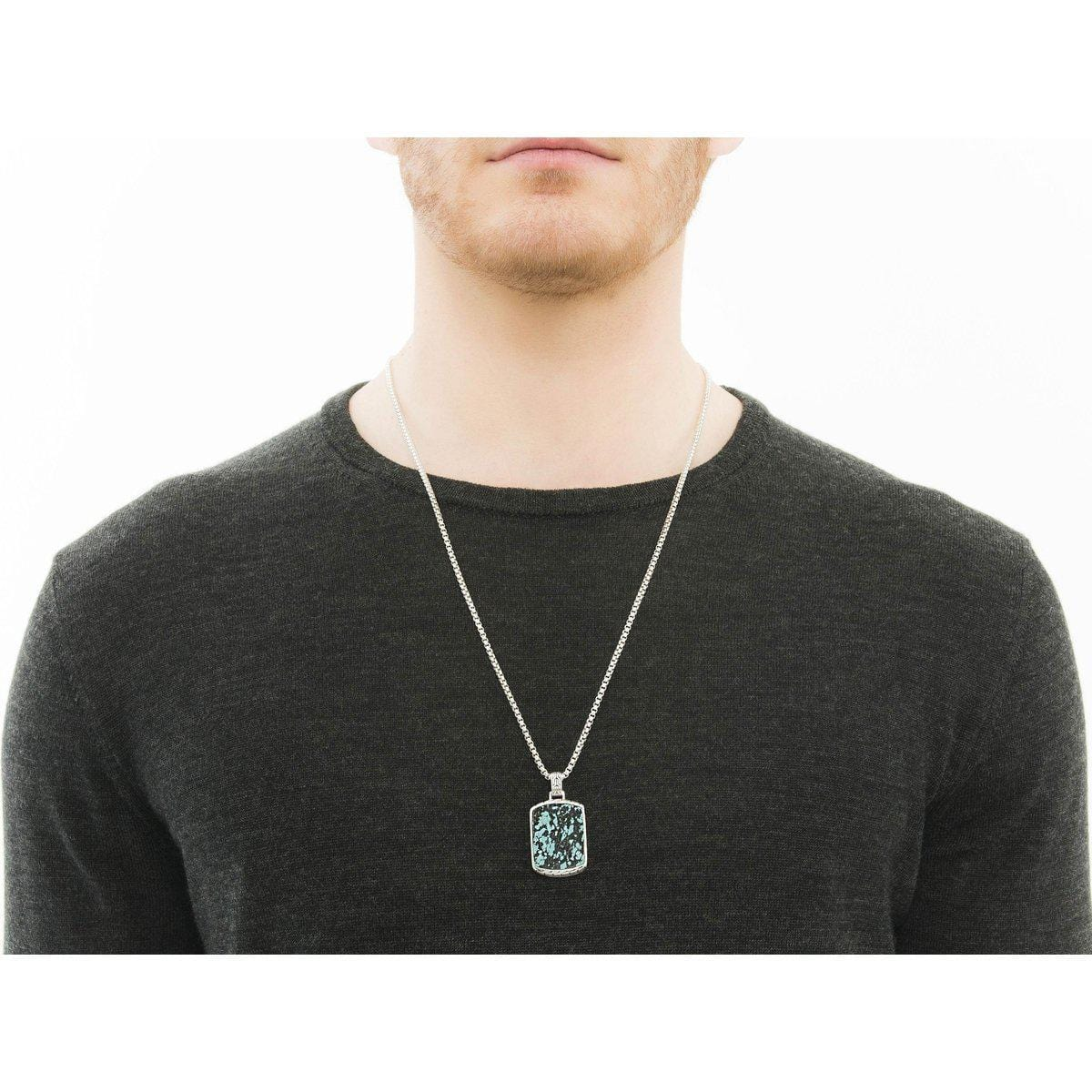 Classic Chain Men's Dog Tag Necklace - NBS996681TQBM-John Hardy-Renee Taylor Gallery