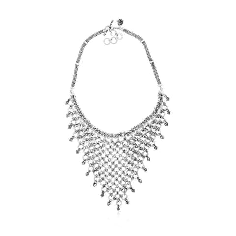 Sterling Silver Classic Granulated Bib Necklace - NP8155-15448-Lois Hill-Renee Taylor Gallery
