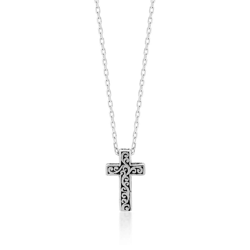 Sterling Silver Classic Cross Necklace - NU7042-16156-Lois Hill-Renee Taylor Gallery