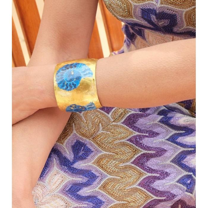 Fossil Blue Cuff - OC115-Evocateur-Renee Taylor Gallery