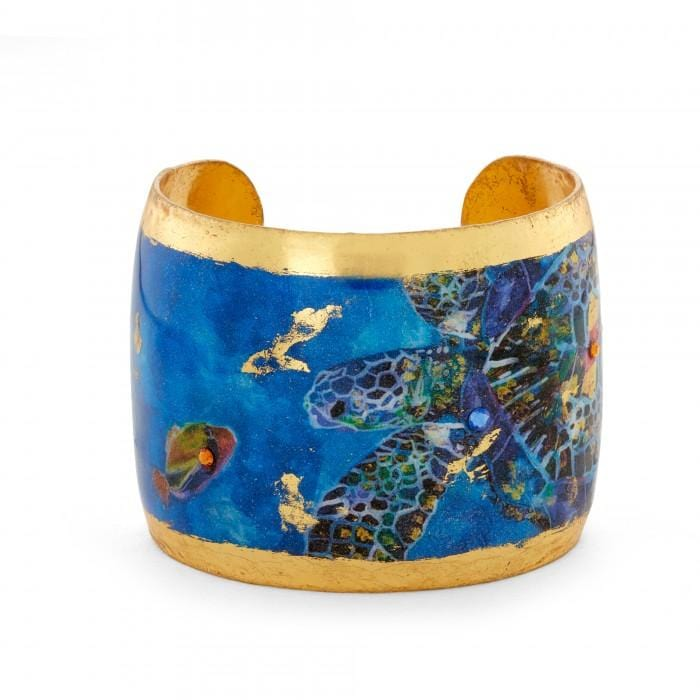Blue Mosaic Sea Turtles Cuff - OC146-Evocateur-Renee Taylor Gallery