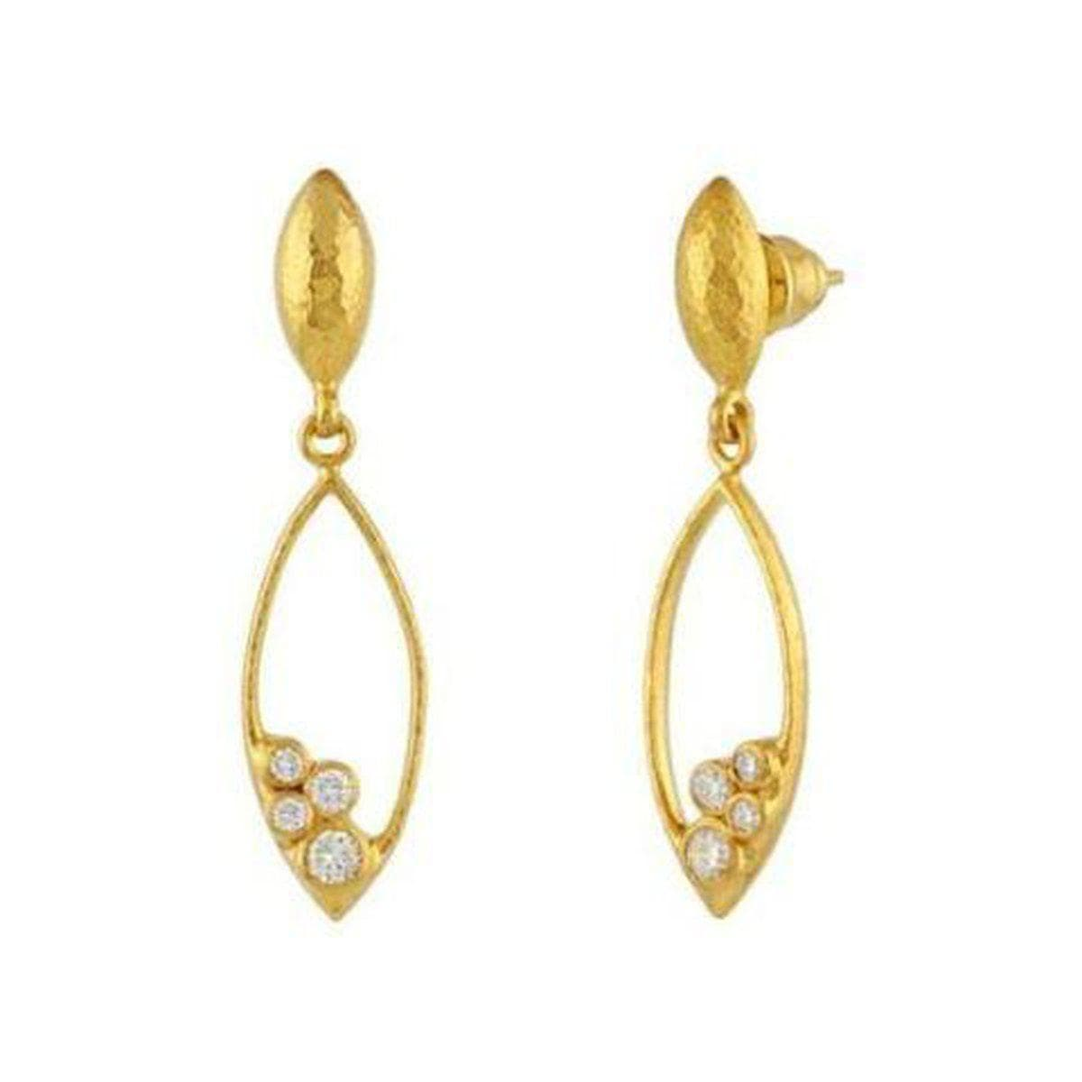 Pointelle 22K Gold White Diamond Earrings - OLE-SCTDI-MQ-S-HO-GURHAN-Renee Taylor Gallery