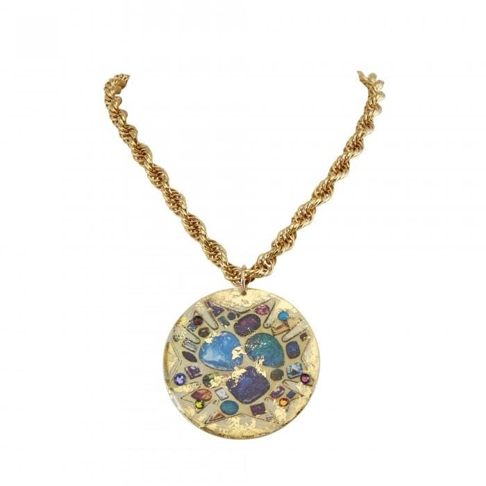 Bejeweled Disc Cream Pendant - OT220-Evocateur-Renee Taylor Gallery