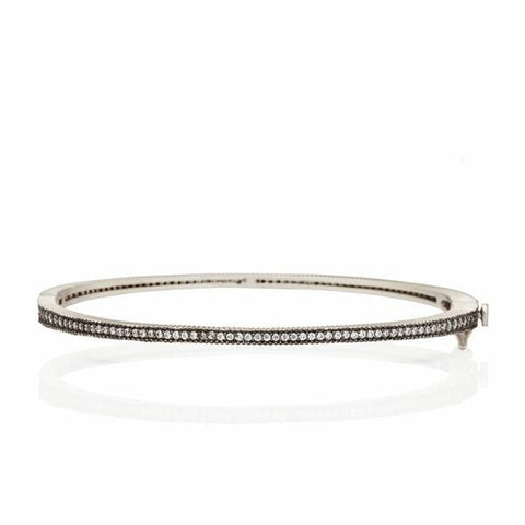 Signature Thin Pavé Hinge Bangle - YRZB080047B-HG-Freida Rothman-Renee Taylor Gallery