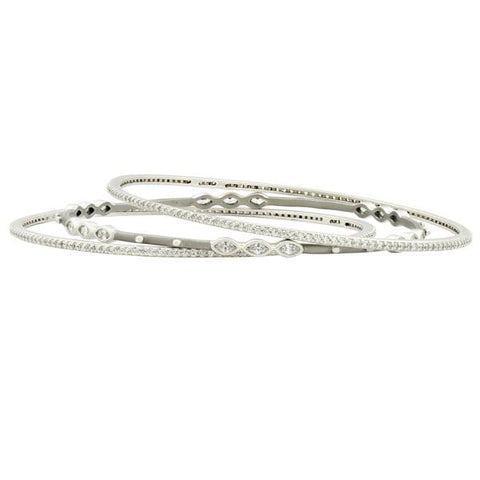Signature Marquise Station 3-Stack Bangle - YRZB080104B-Freida Rothman-Renee Taylor Gallery