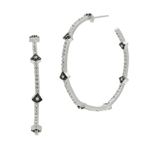 Signature Pavé Arrow Hoop Earrings - YRZE020146B-Freida Rothman-Renee Taylor Gallery
