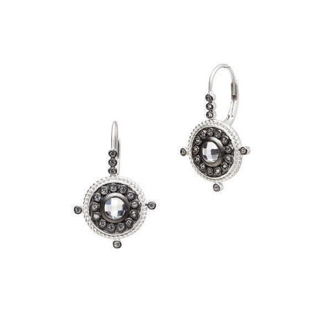 Signature Nautical Button Leverback Earrings - YRZEL0286B-Freida Rothman-Renee Taylor Gallery