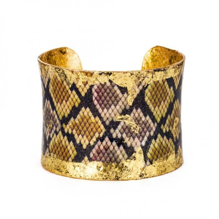Python Brown/Yellow Cuff - PY103-Evocateur-Renee Taylor Gallery