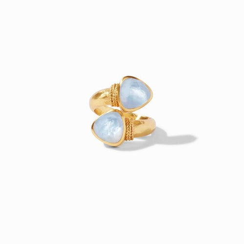 Paris Duet Gold Iridescent Ice Blue Ring - R145GIIB-Julie Vos-Renee Taylor Gallery