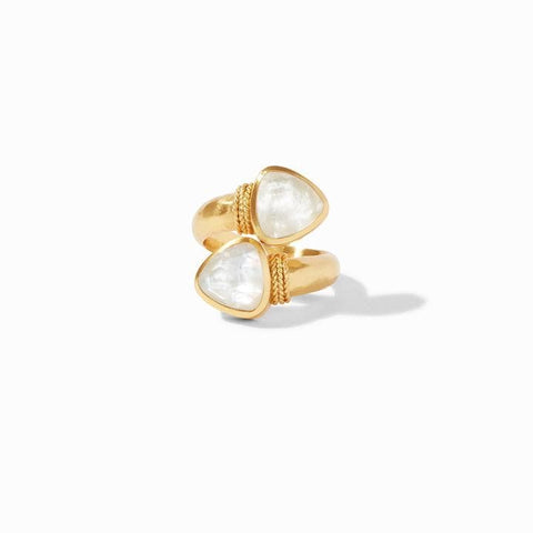 Paris Duet Gold Iridescent Clear Crystal Ring - R145GIRC-Julie Vos-Renee Taylor Gallery