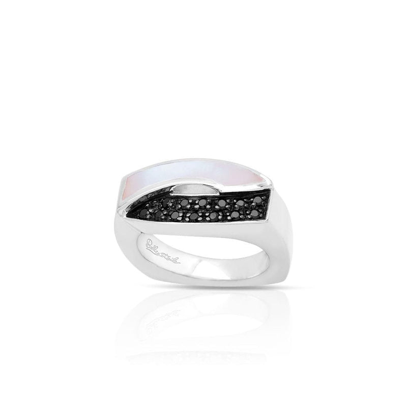 Pirouette White Mother-of-Pearl & Black Ring-Belle Etoile-Renee Taylor Gallery