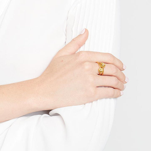 Poppy Stacking Rings Gold Pearl Ring (Set Of 2) - R157GPL-Julie Vos-Renee Taylor Gallery