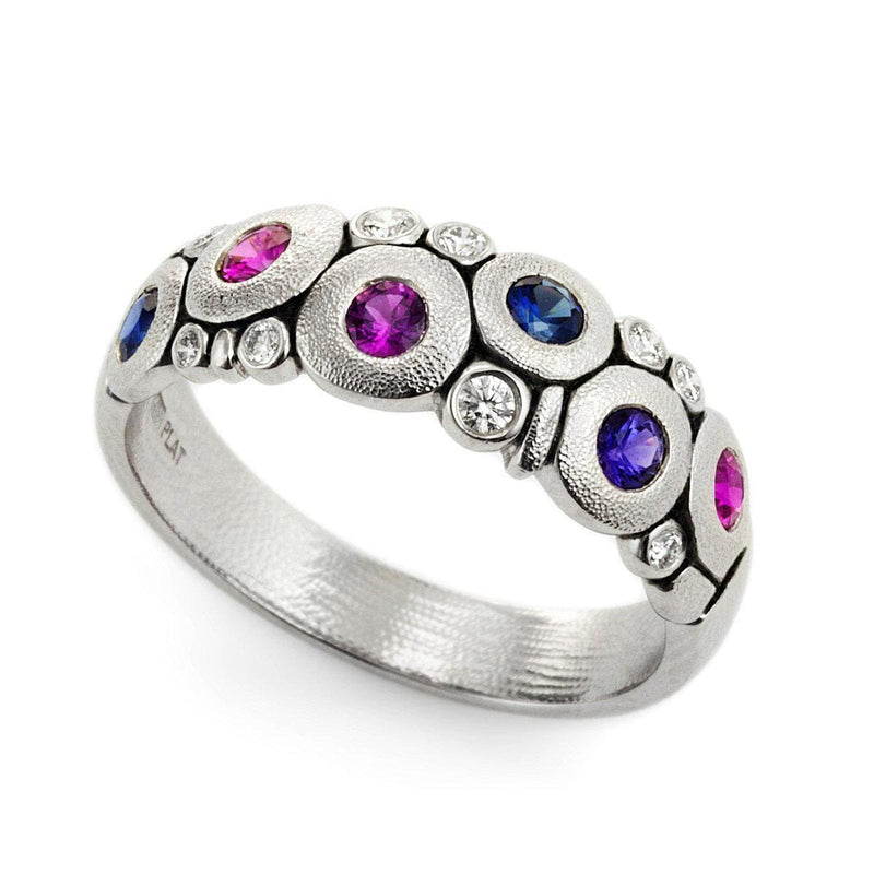 Platinum Candy Blue Pink Mix Sapphire & Diamond Dome Ring - R-122PS-Alex Sepkus-Renee Taylor Gallery