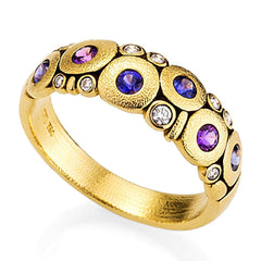 18K Candy Pink Purple Mix Sapphire & Diamond Dome Ring - R-122S-Alex Sepkus-Renee Taylor Gallery