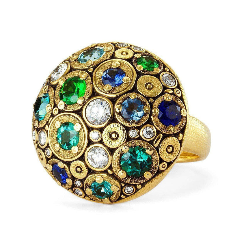 18K Blooming Hill Blue Green Mix Sapphire & Diamond Ring - R-145S-Alex Sepkus-Renee Taylor Gallery