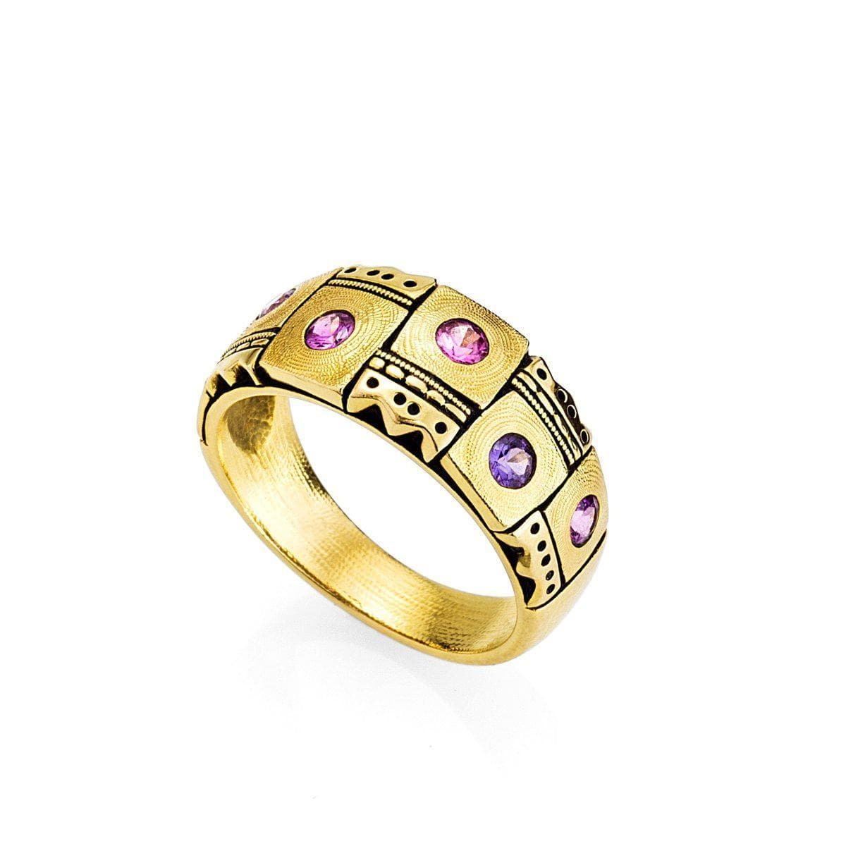 18K Crowned Heads Pink Purple Sapphire Band - R-159S-Alex Sepkus-Renee Taylor Gallery