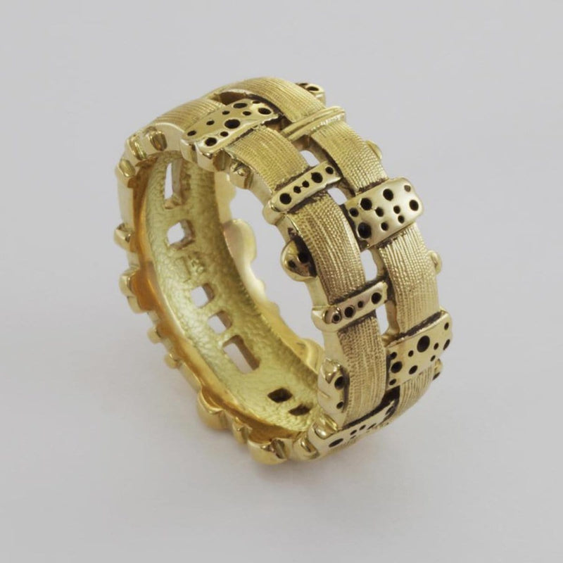 "18K ""Woven Fence"" Ring - R-177-Alex Sepkus-Renee Taylor Gallery"