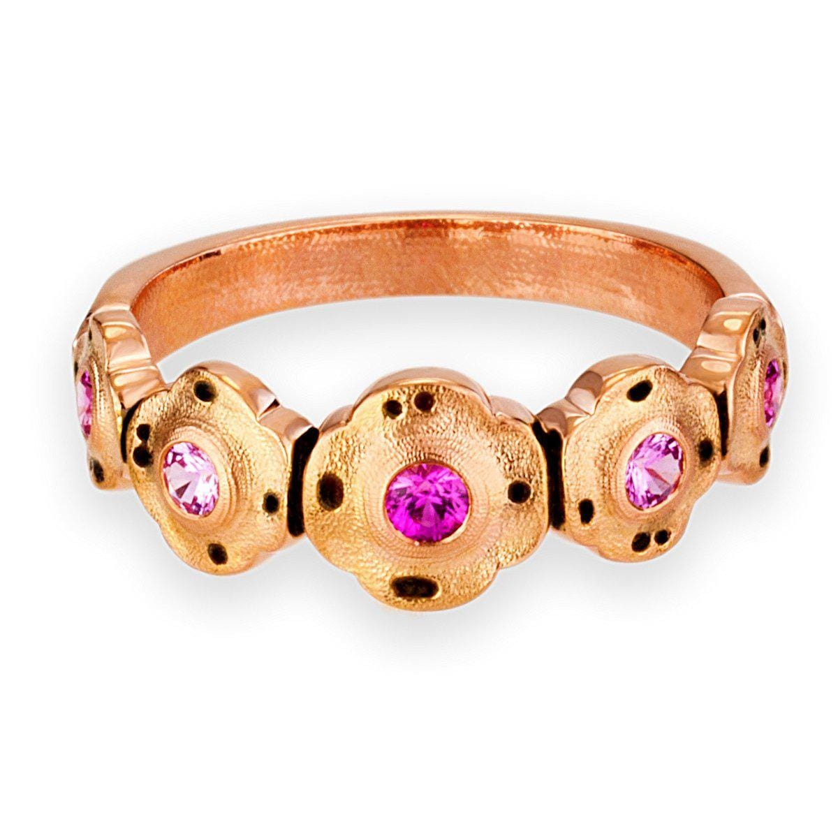 18K Flora Pink Mix Sapphire Ring - R-207RS