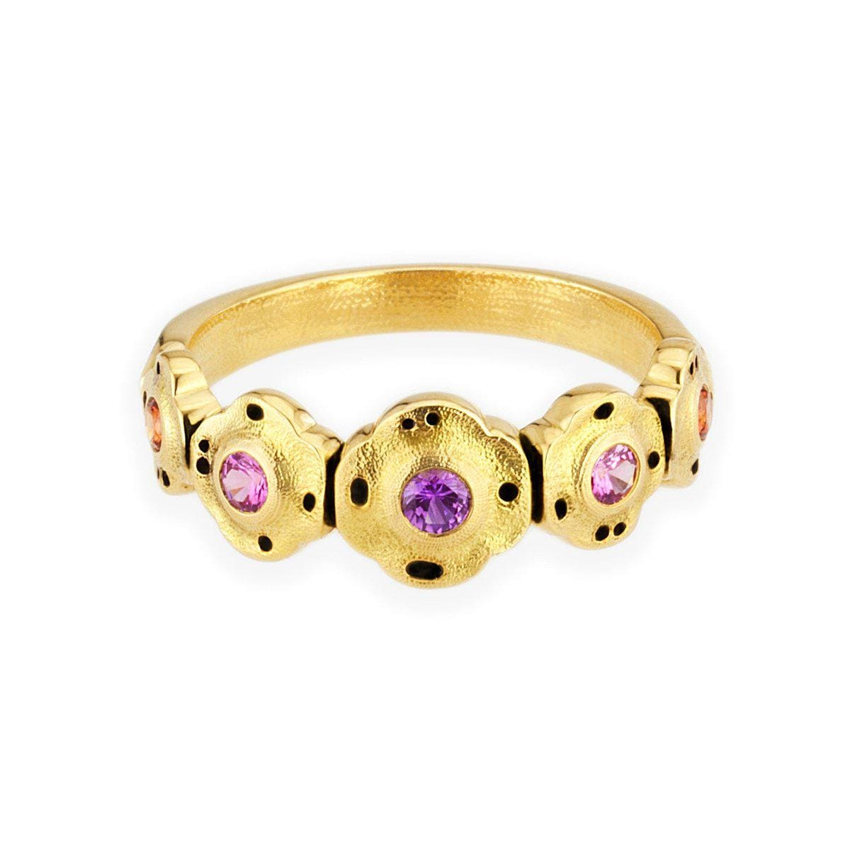 18K Flora Purple Pink Mix Sapphire Ring - R-207S