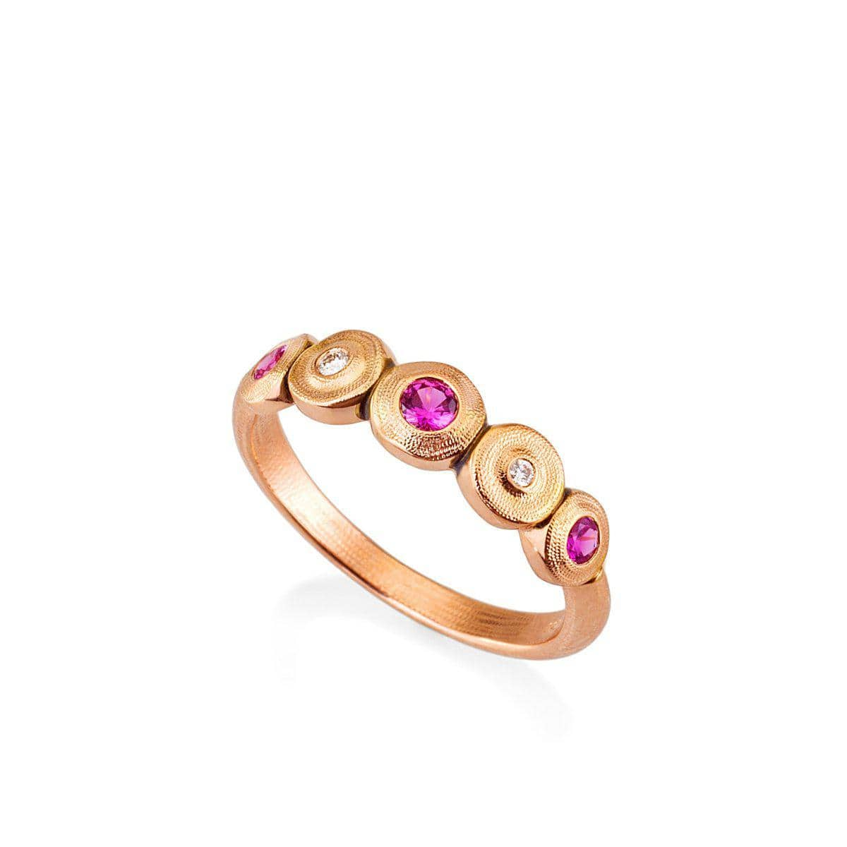 18K Five Seed Pink Sapphire & Diamond Ring - R-210RS