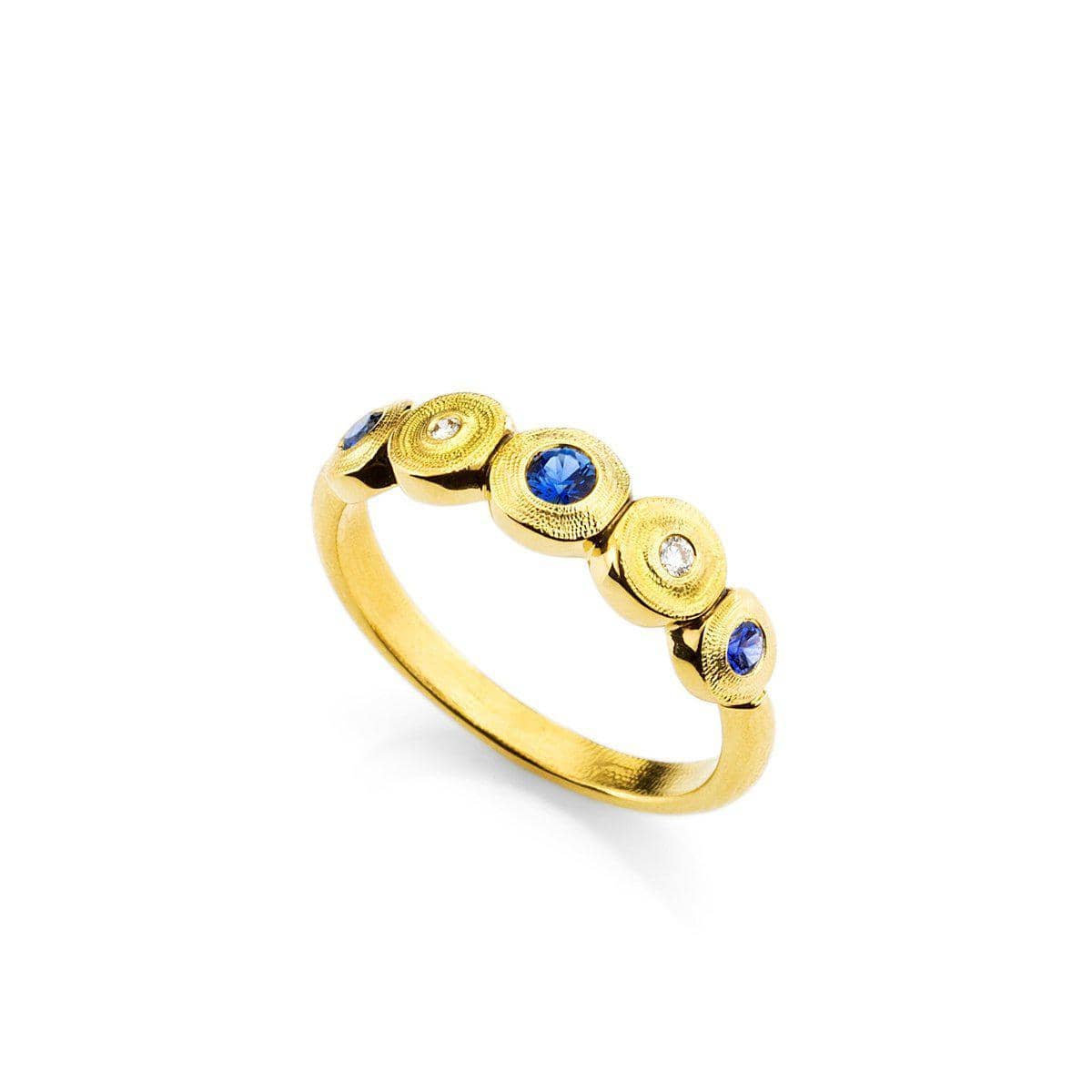18K Five Seed Blue Sapphire & Diamond Ring - R-210S