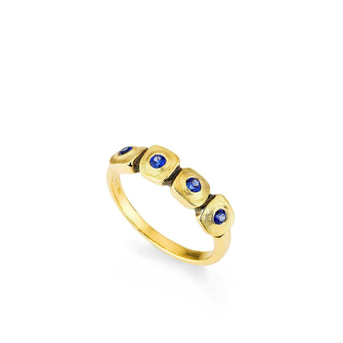 18K Dancing Squares Blue Sapphire Dome Band - R-212S
