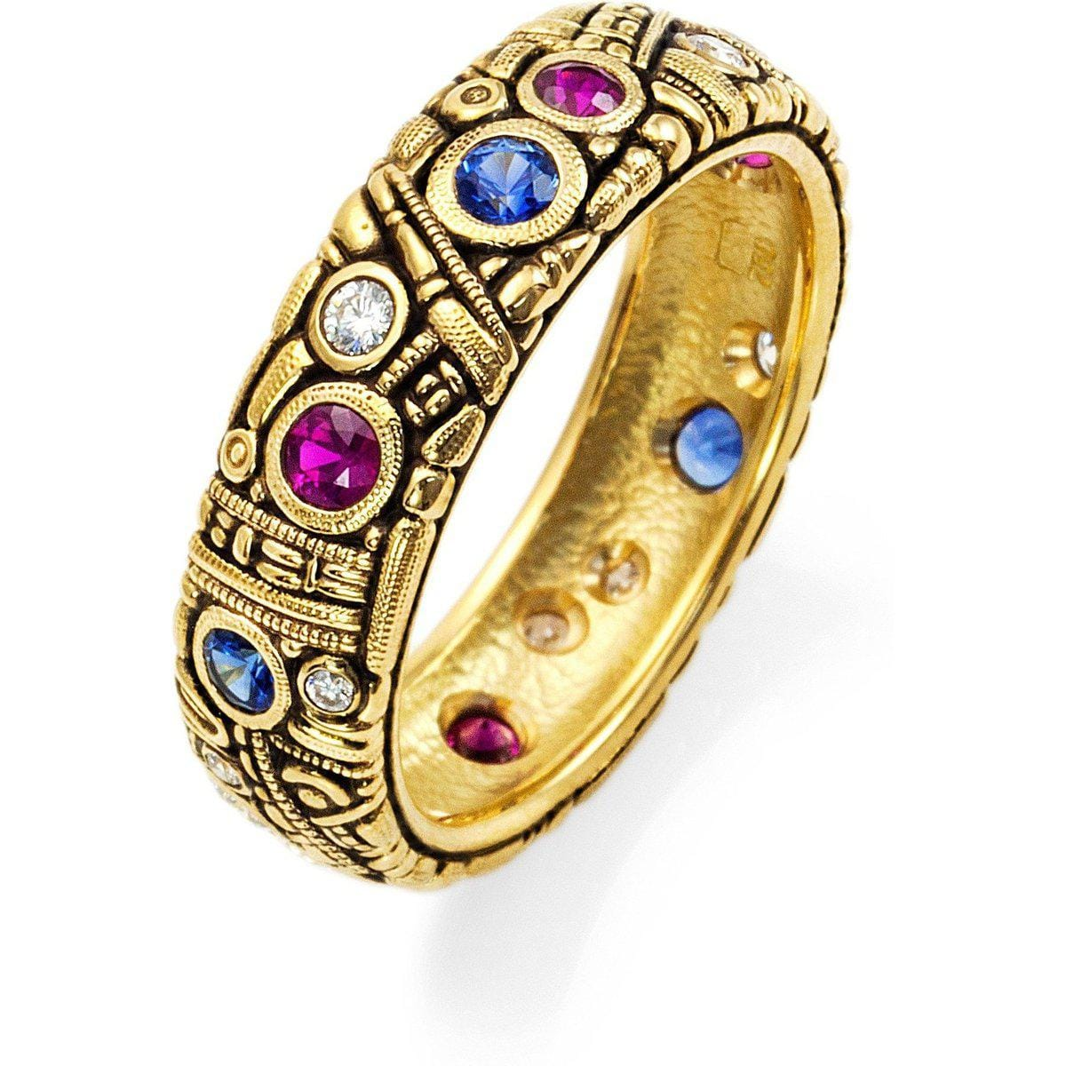 18K Sapphire Ruby & Diamond Band - R-7-Alex Sepkus-Renee Taylor Gallery