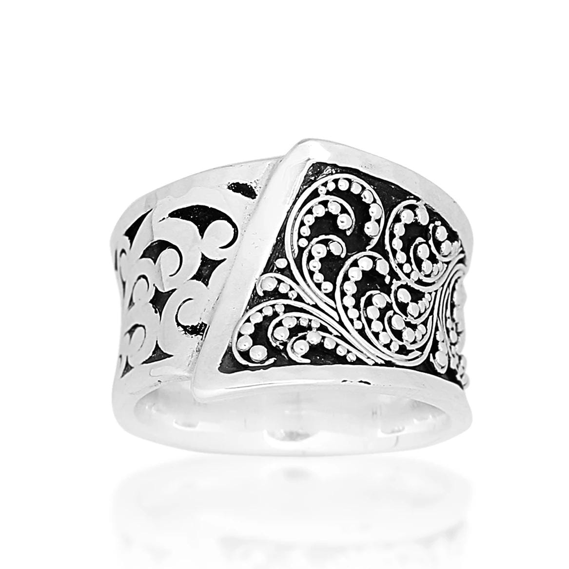 Sterling Silver Classic Carved Scroll Ring - RB6274-85355-Lois Hill-Renee Taylor Gallery