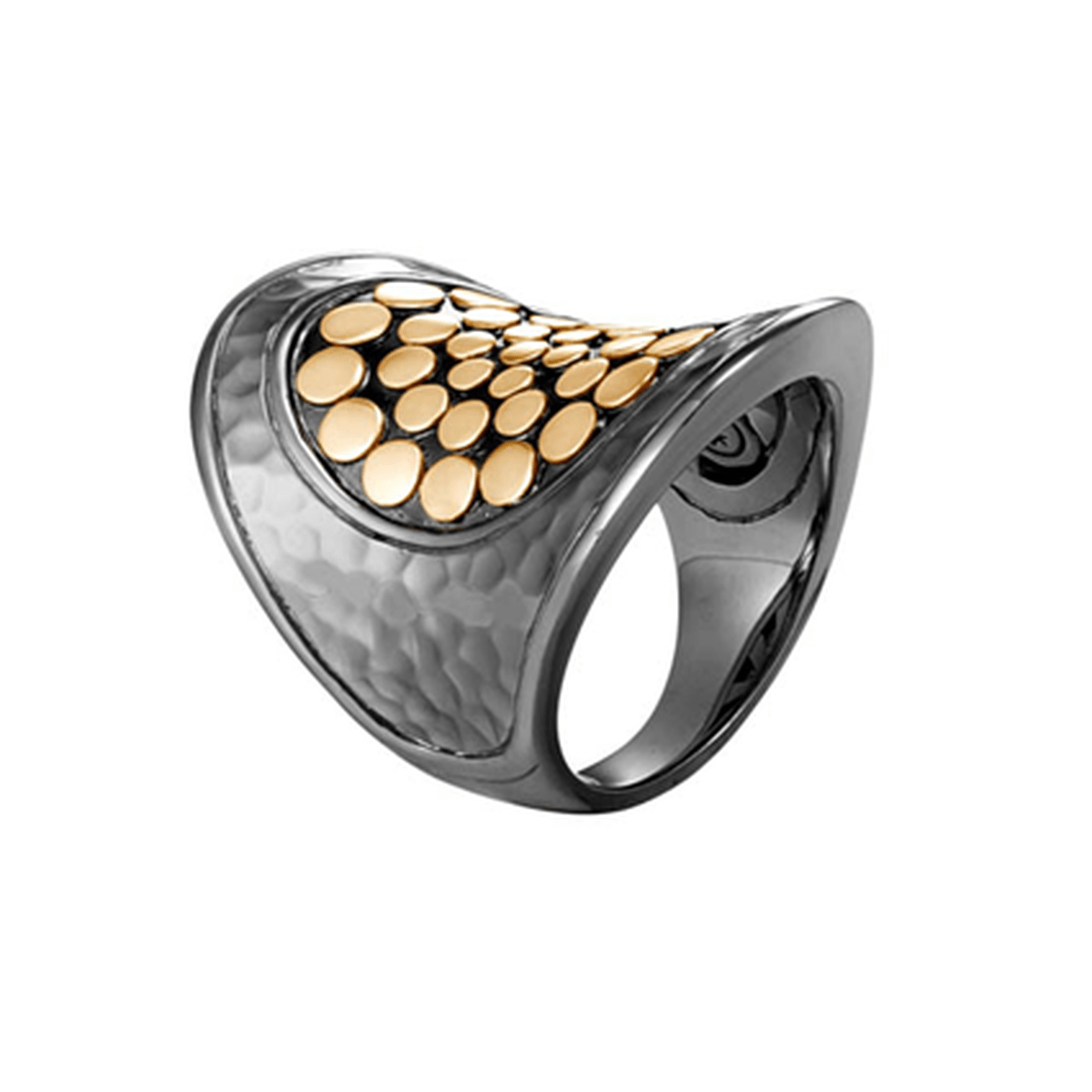 Dot Saddle Ring in Blackened Hammered Silver and 18K Gold - RZ30007BRD-John Hardy-Renee Taylor Gallery