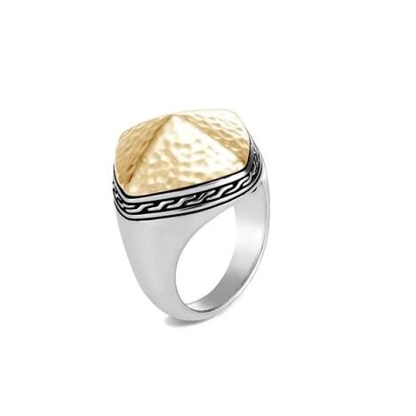 Classic Chain Hammered Sugarloaf Ring - RZ90521-John Hardy-Renee Taylor Gallery