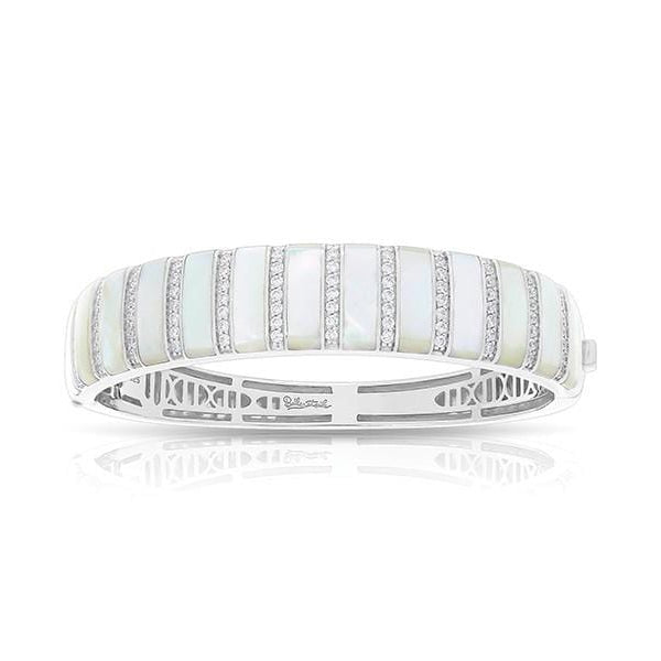 Regal Stripe White Mother of Pearl Bangle-Belle Etoile-Renee Taylor Gallery