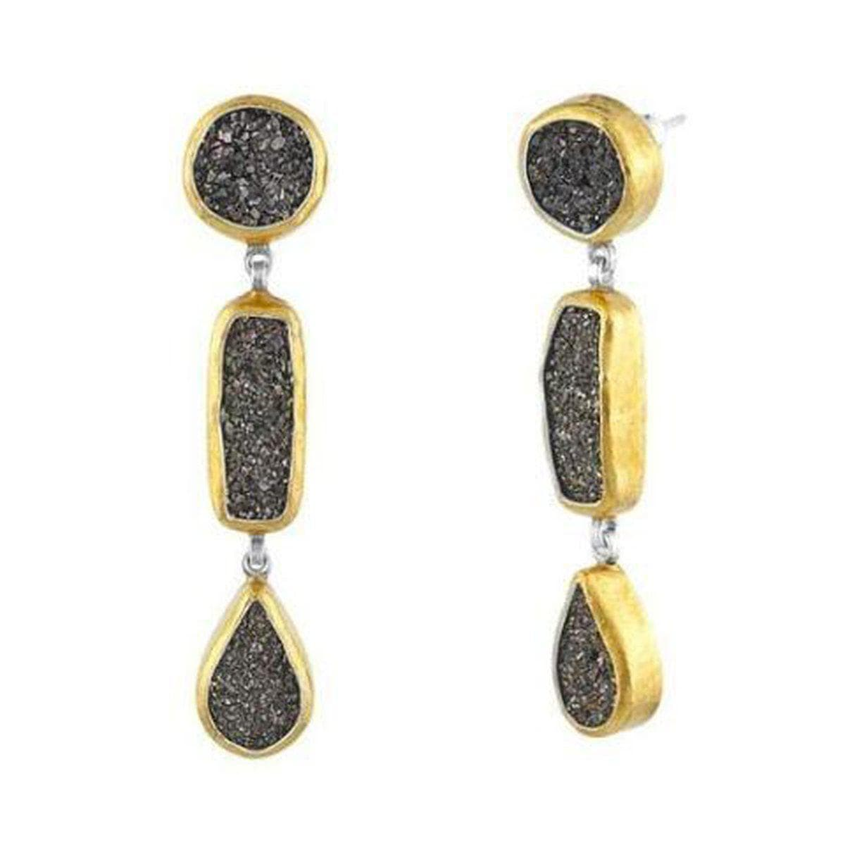 Mystere 24K Gold Drusy Quartz Earrings - SE-AH-DQB-MX-TD