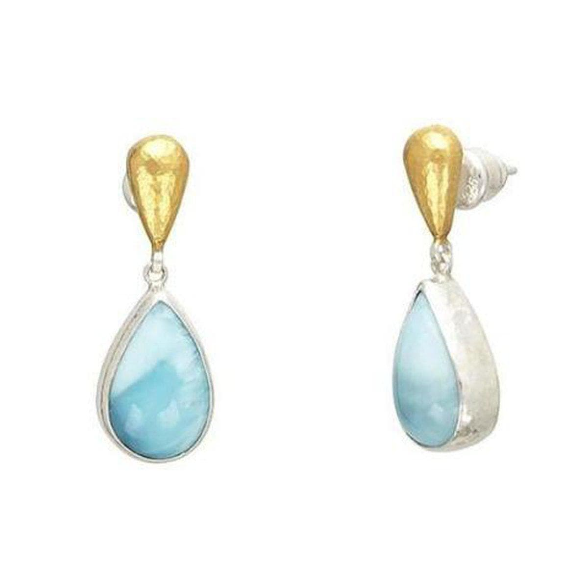 Galapagos Sterling Silver Larimar Earrings - SE-U24935-LRM-GURHAN-Renee Taylor Gallery