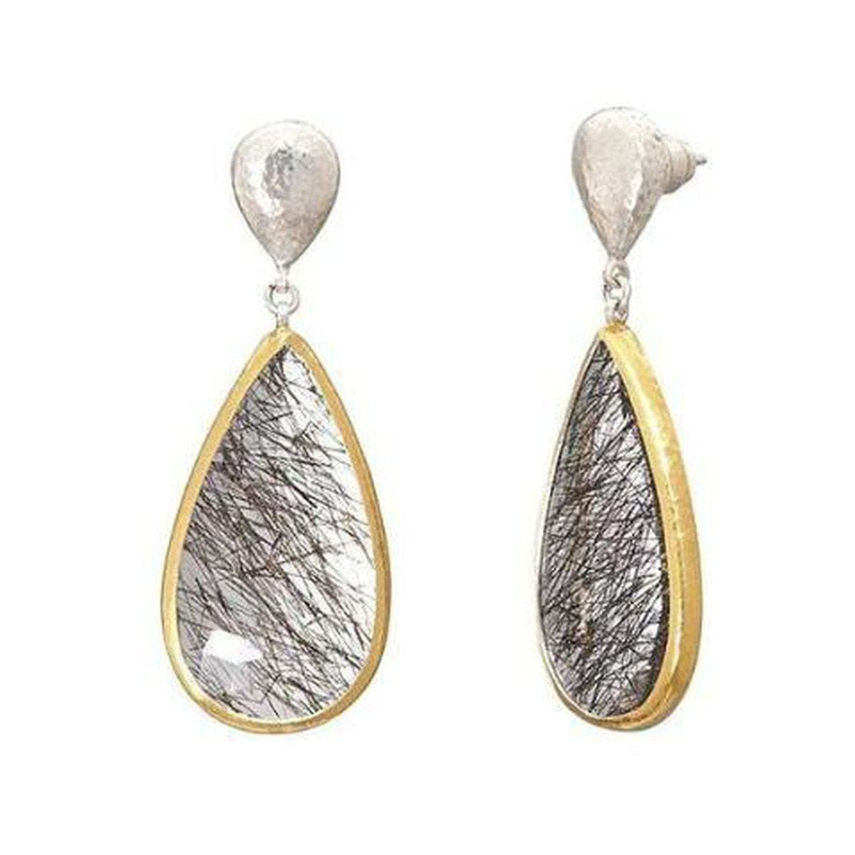 Galapagos Sterling Silver Tourmalinated Quartz Earrings - SE-U25726-QTT