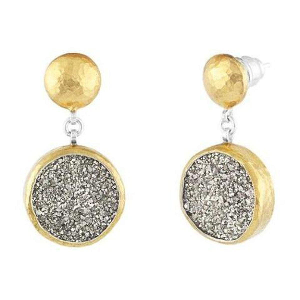 Mystere Sterling Silver Drusy Quartz Earrings - SLTE-DQS-RD15-GF-GURHAN-Renee Taylor Gallery