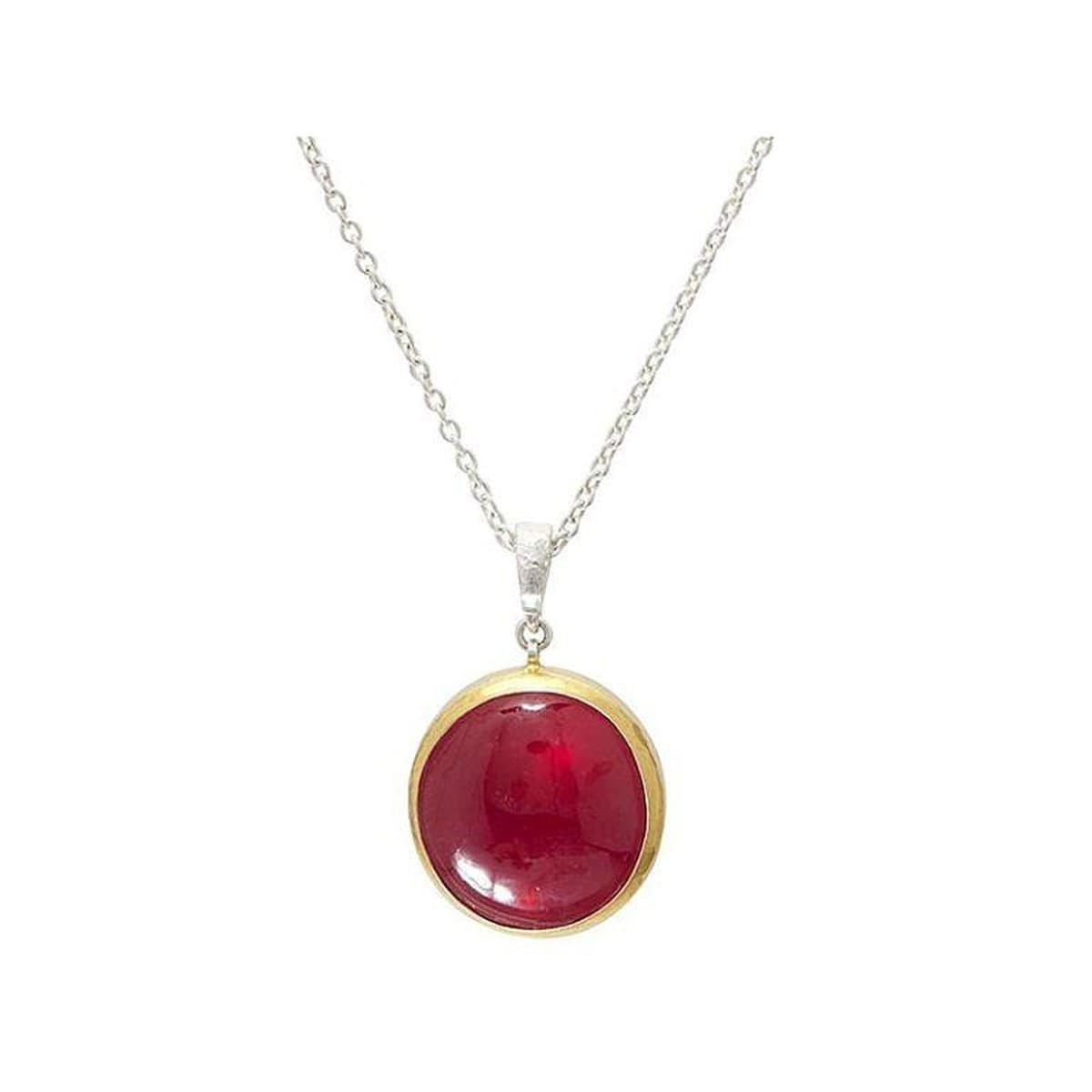 Galapagos Sterling Silver Ruby Necklace - SN-U24913-RU