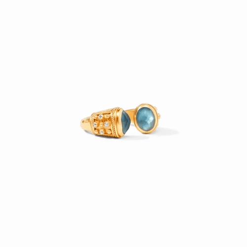 Paris Luxe Ring Gold Iridescent Azure Blue Ring - R148GIABCZ-Julie Vos-Renee Taylor Gallery