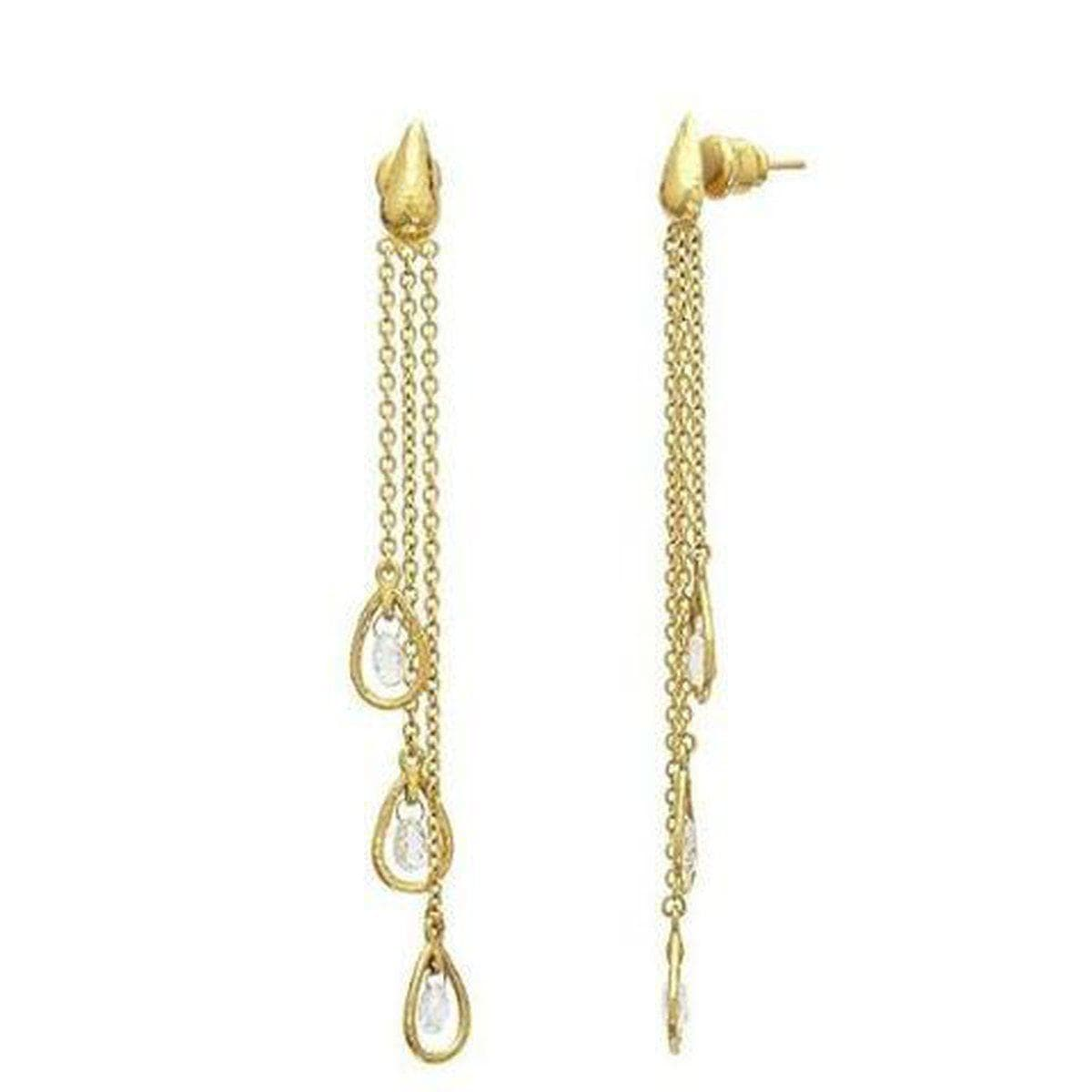 Delicate 24K Gold White Diamond Earrings - TDE-3DIB-3FR-GRCH-GURHAN-Renee Taylor Gallery