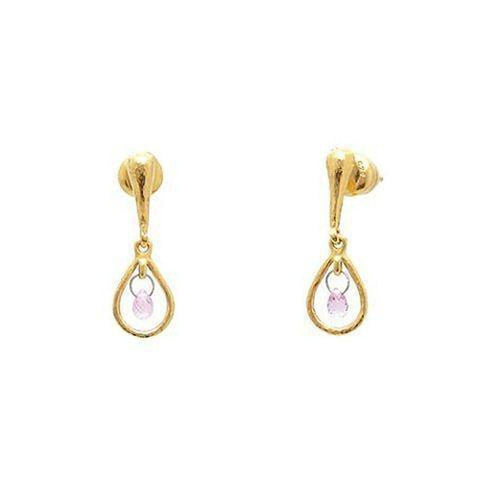Delicate Hue 22K Gold Pink Sapphire Earrings - TDE-FSB-1FR-1PN-GURHAN-Renee Taylor Gallery