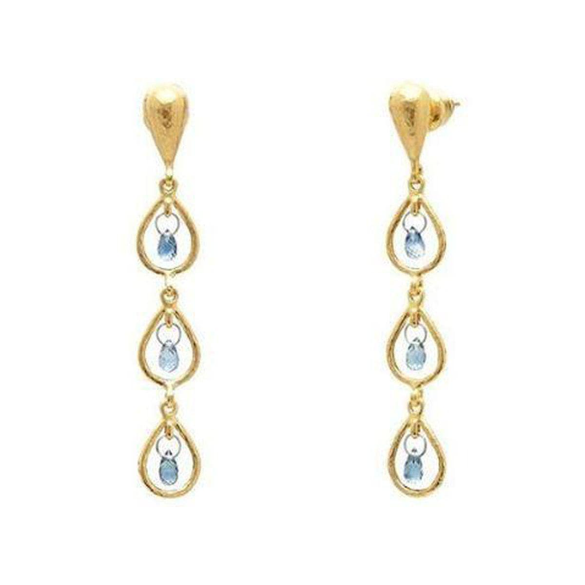 Delicate Hue 22K Gold Sapphire Earrings - TDE-FSB-3FR-BL-TRD-GURHAN-Renee Taylor Gallery