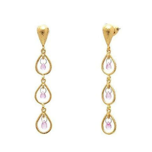 Delicate Hue 22K Gold Sapphire Earrings - TDE-FSB-3FR-PN-TRD-GURHAN-Renee Taylor Gallery