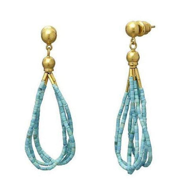 Delicate Hue 24K Gold Turquoise Earrings - TPE-4TQH-2-GURHAN-Renee Taylor Gallery